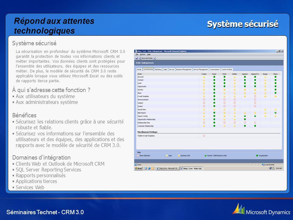 Séminaires Technet - CRM 3.0 Système sécurisé La sécurisation en profondeur du système Microsoft CRM 3.0 garantit la protection de toutes vos informat