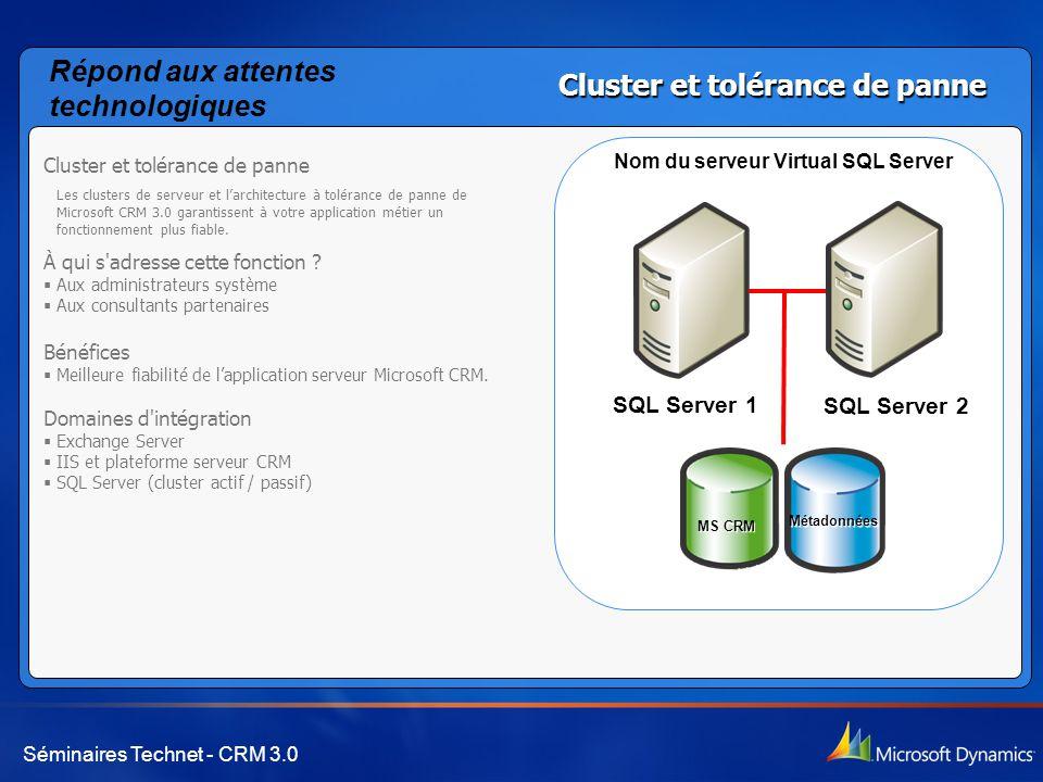 Séminaires Technet - CRM 3.0 Cluster et tolérance de panne Les clusters de serveur et l'architecture à tolérance de panne de Microsoft CRM 3.0 garantissent à votre application métier un fonctionnement plus fiable.