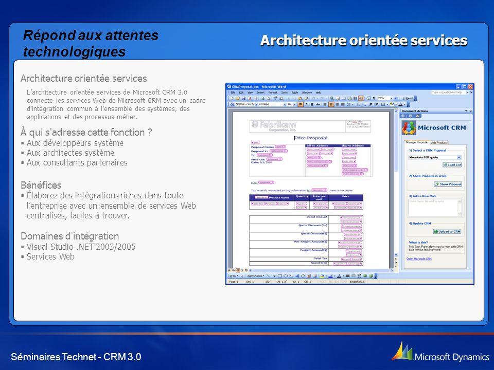 Séminaires Technet - CRM 3.0 Architecture orientée services L'architecture orientée services de Microsoft CRM 3.0 connecte les services Web de Microsoft CRM avec un cadre d'intégration commun à l'ensemble des systèmes, des applications et des processus métier.