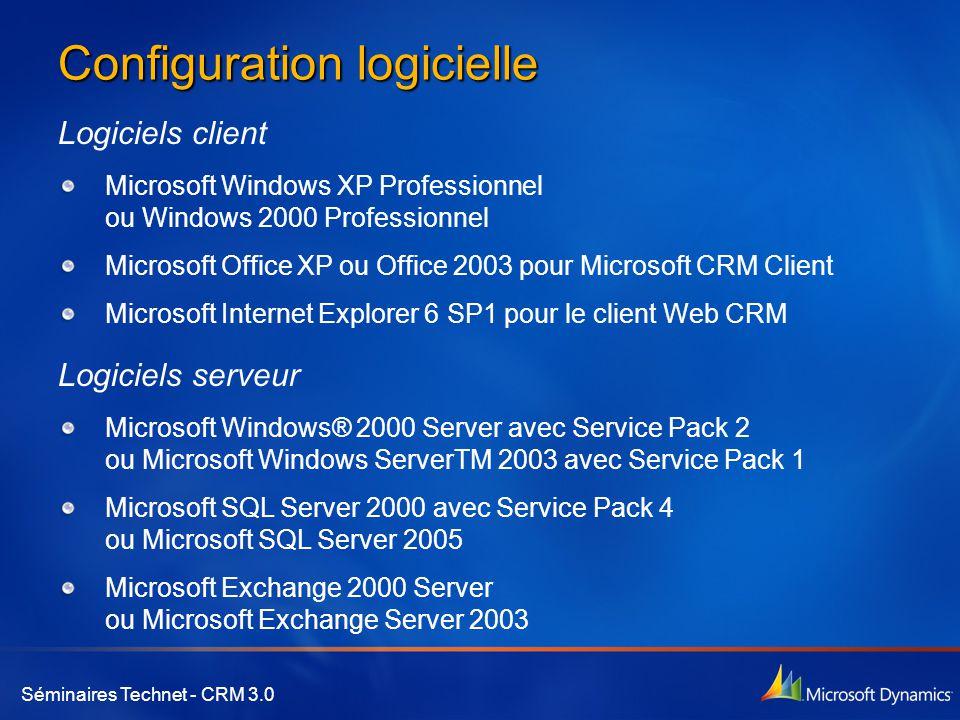 Séminaires Technet - CRM 3.0 Configuration logicielle Logiciels client Microsoft Windows XP Professionnel ou Windows 2000 Professionnel Microsoft Offi
