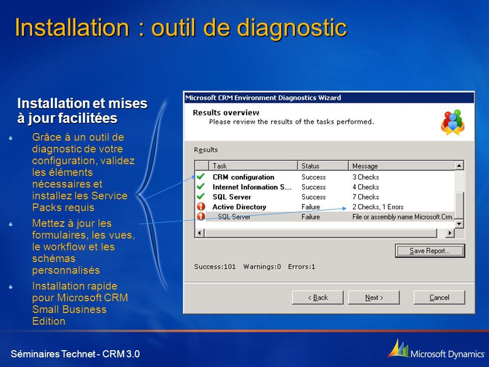 Séminaires Technet - CRM 3.0 Installation : outil de diagnostic Grâce à un outil de diagnostic de votre configuration, validez les éléments nécessaire