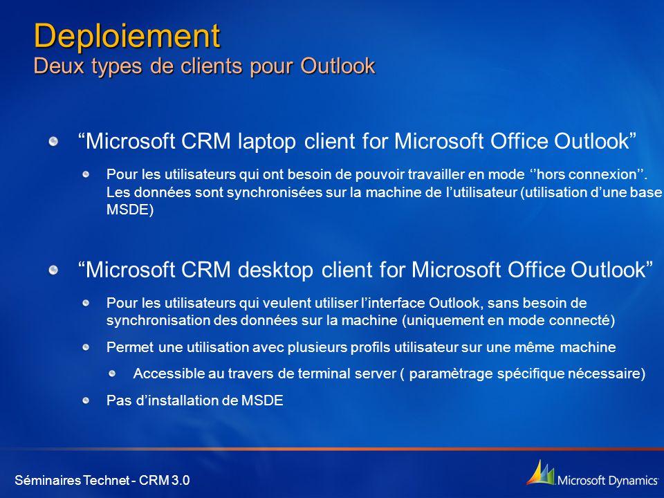 """Séminaires Technet - CRM 3.0 Deploiement Deux types de clients pour Outlook """"Microsoft CRM laptop client for Microsoft Office Outlook"""" Pour les utilis"""