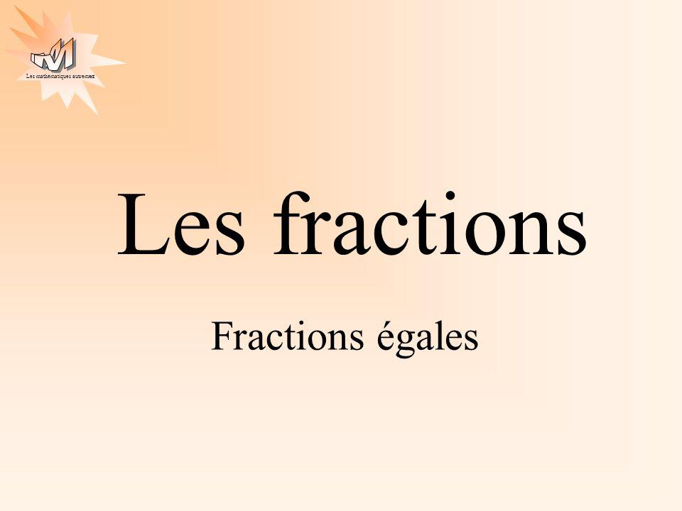 Les mathématiques autrement Les fractions Fractions égales