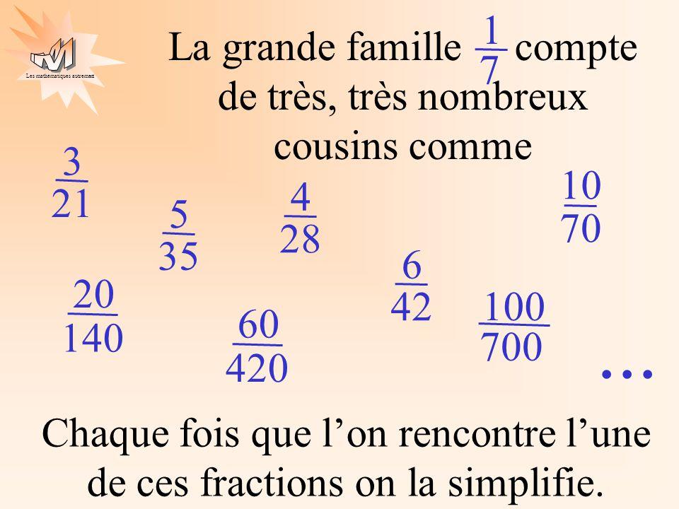 Les mathématiques autrement La grande famille compte de très, très nombreux cousins comme 1 7 3 21 4 28 5 35 6 42 10 70 20 140 60 420 100 700 Chaque fois que l'on rencontre l'une de ces fractions on la simplifie....