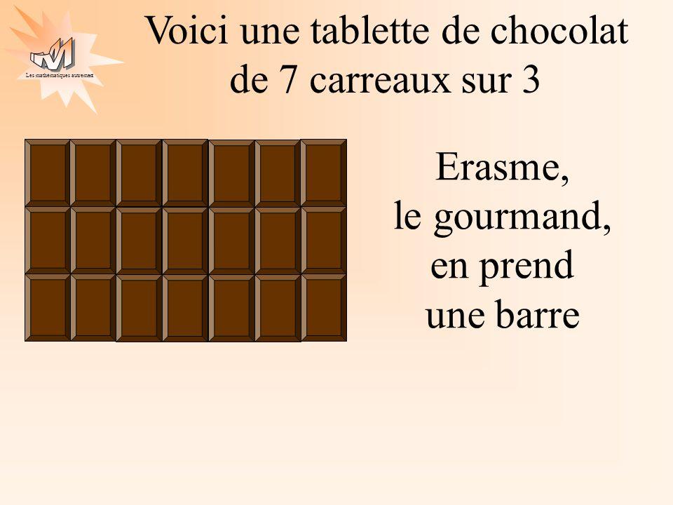 Les mathématiques autrement Voici une tablette de chocolat de 7 carreaux sur 3 Erasme, le gourmand, en prend une barre