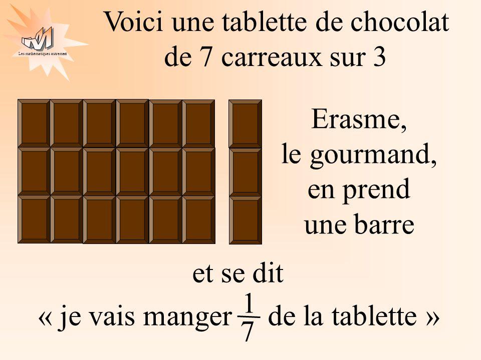 Les mathématiques autrement et se dit « je vais manger de la tablette » Voici une tablette de chocolat de 7 carreaux sur 3 1 7 Erasme, le gourmand, en prend une barre