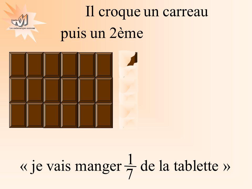 Les mathématiques autrement puis un 2ème « je vais manger de la tablette » 1 7 Il croqueun carreau