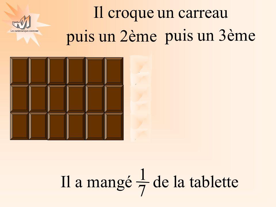 Les mathématiques autrement Il croqueun carreau puis un 2ème puis un 3ème Il a mangé de la tablette 1 7