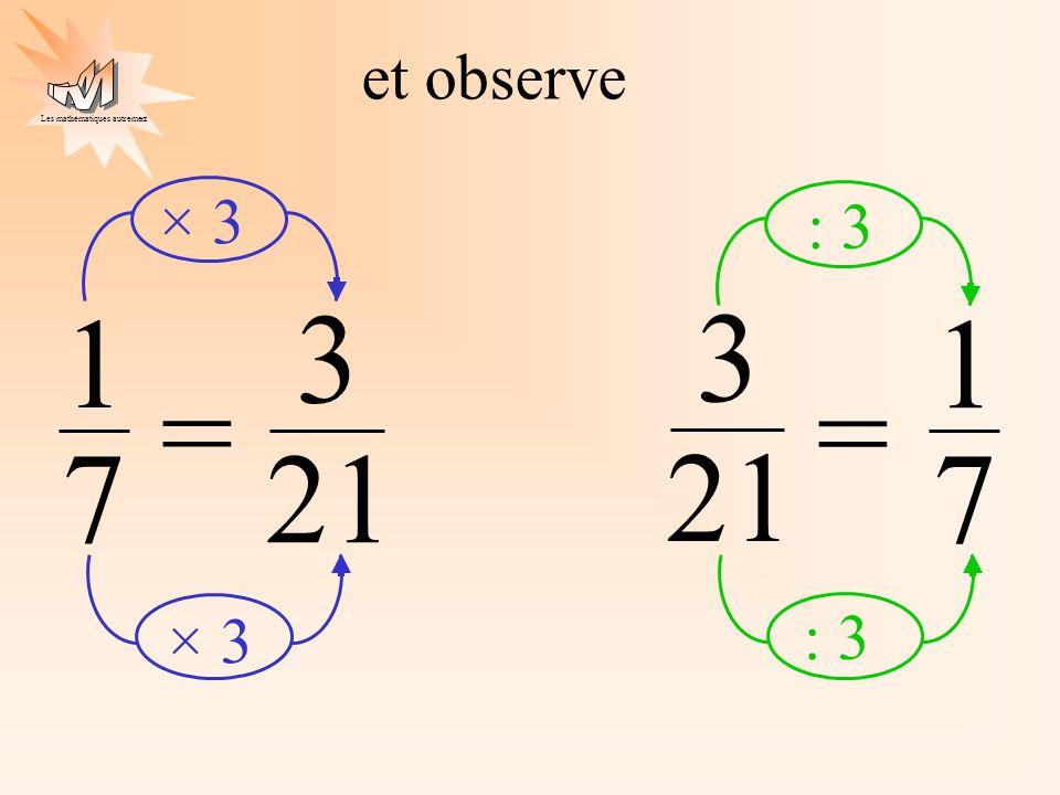 Les mathématiques autrement 21 3 1 7 = et observe × 3 21 3 1 7 = : 3