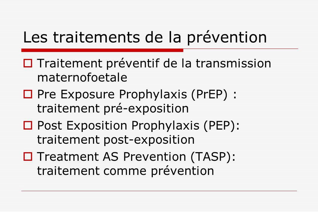 Les traitements de la prévention  Traitement préventif de la transmission maternofoetale  Pre Exposure Prophylaxis (PrEP) : traitement pré-expositio