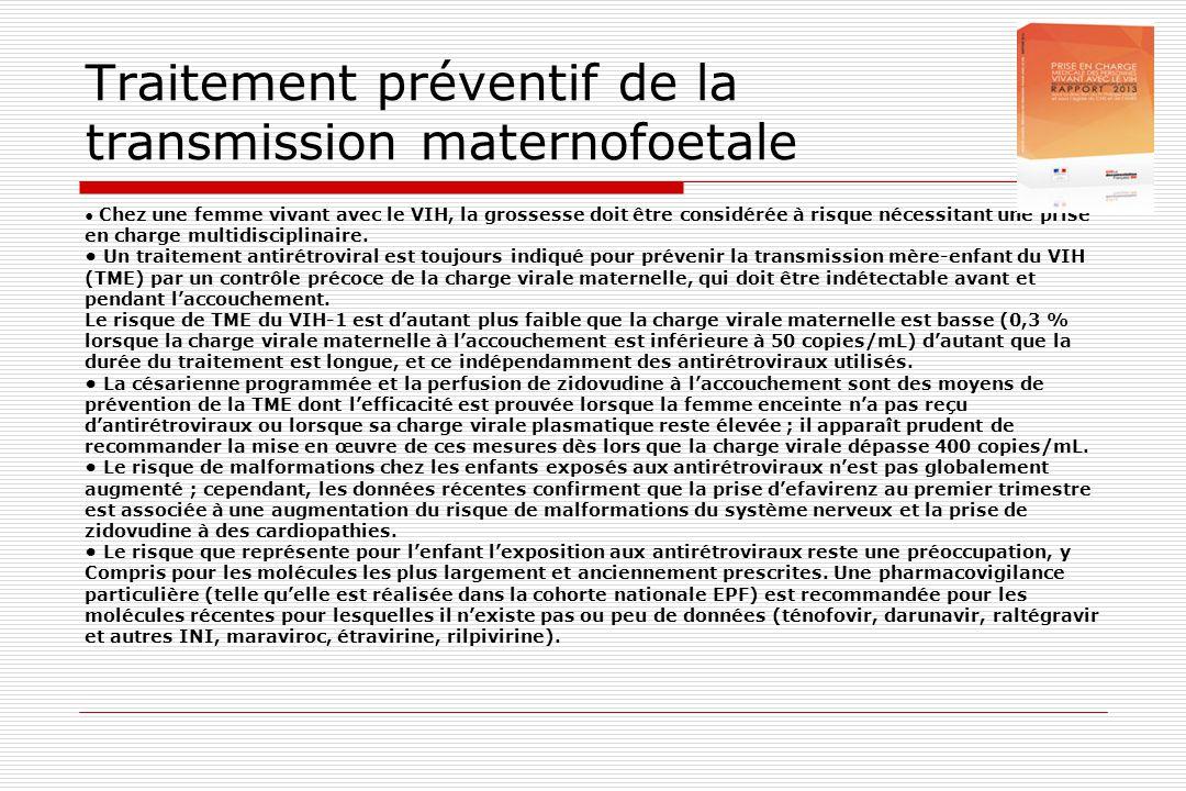 Traitement préventif de la transmission maternofoetale • Chez une femme vivant avec le VIH, la grossesse doit être considérée à risque nécessitant une
