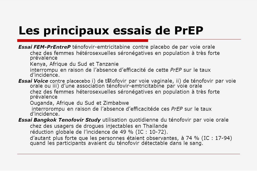 Les principaux essais de PrEP Essai FEM-PrEntreP ténofovir-emtricitabine contre placebo de par voie orale chez des femmes hétérosexuelles séronégative