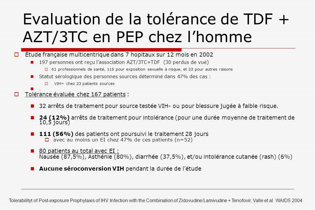 Evaluation de la tolérance de TDF + AZT/3TC en PEP chez l'homme  Étude française multicentrique dans 7 hopitaux sur 12 mois en 2002  197 personnes o