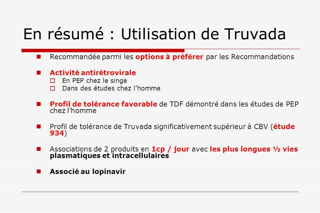 En résumé : Utilisation de Truvada  Recommandée parmi les options à préférer par les Recommandations  Activité antirétrovirale  En PEP chez le sing