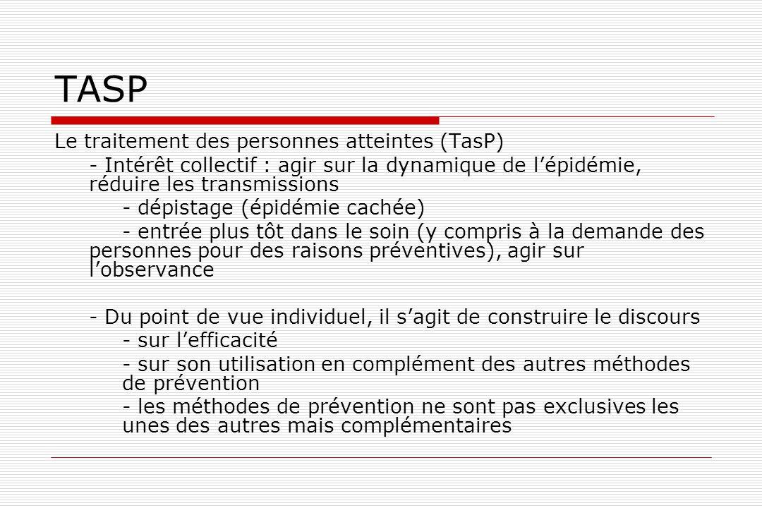 TASP Le traitement des personnes atteintes (TasP) - Intérêt collectif : agir sur la dynamique de l'épidémie, réduire les transmissions - dépistage (ép