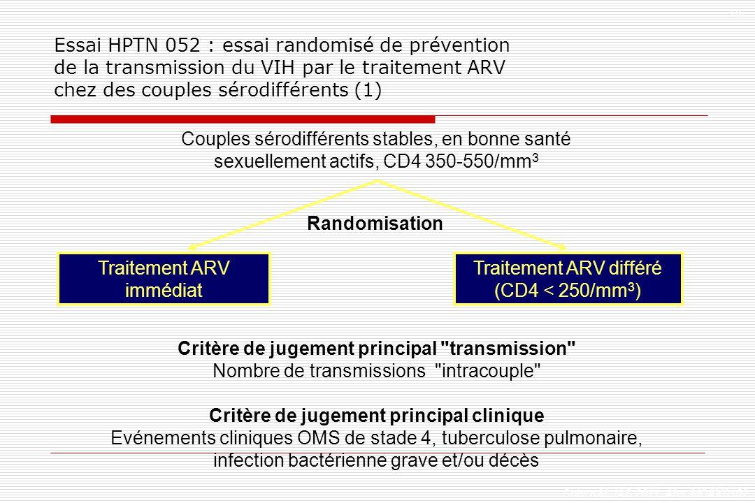 Couples sérodifférents stables, en bonne santé sexuellement actifs, CD4 350-550/mm 3 Critère de jugement principal