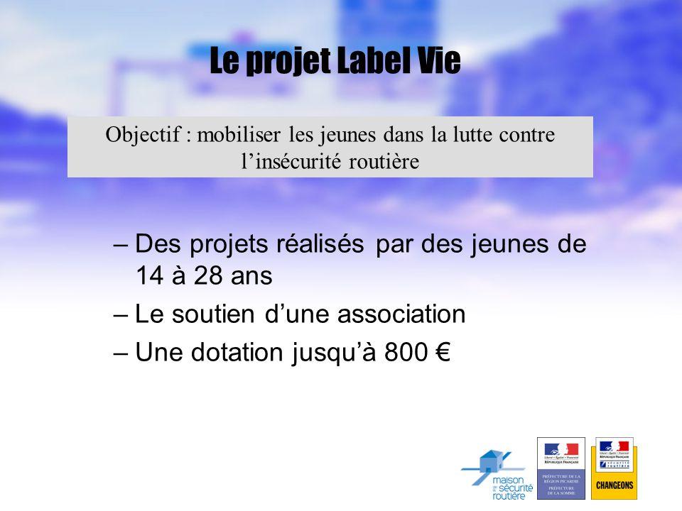 Le projet Label Vie –Des projets réalisés par des jeunes de 14 à 28 ans –Le soutien d'une association –Une dotation jusqu'à 800 € Objectif : mobiliser les jeunes dans la lutte contre l'insécurité routière