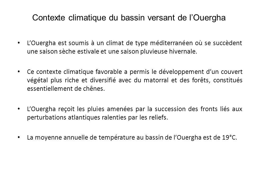 Contexte climatique du bassin versant de l'Ouergha • L'Ouergha est soumis à un climat de type méditerranéen où se succèdent une saison sèche estivale et une saison pluvieuse hivernale.