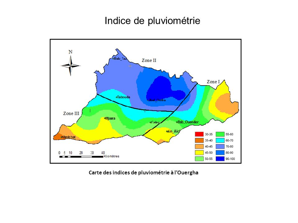 Indice de pluviométrie Carte des indices de pluviométrie à l'Ouergha