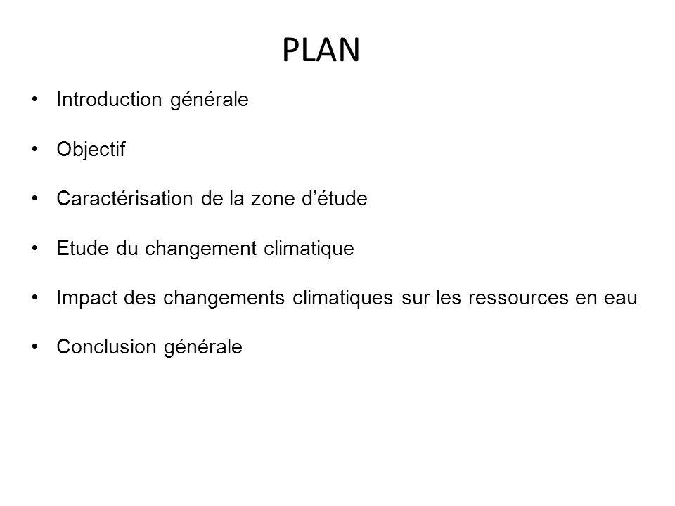 PLAN •Introduction générale •Objectif •Caractérisation de la zone d'étude •Etude du changement climatique •Impact des changements climatiques sur les ressources en eau •Conclusion générale