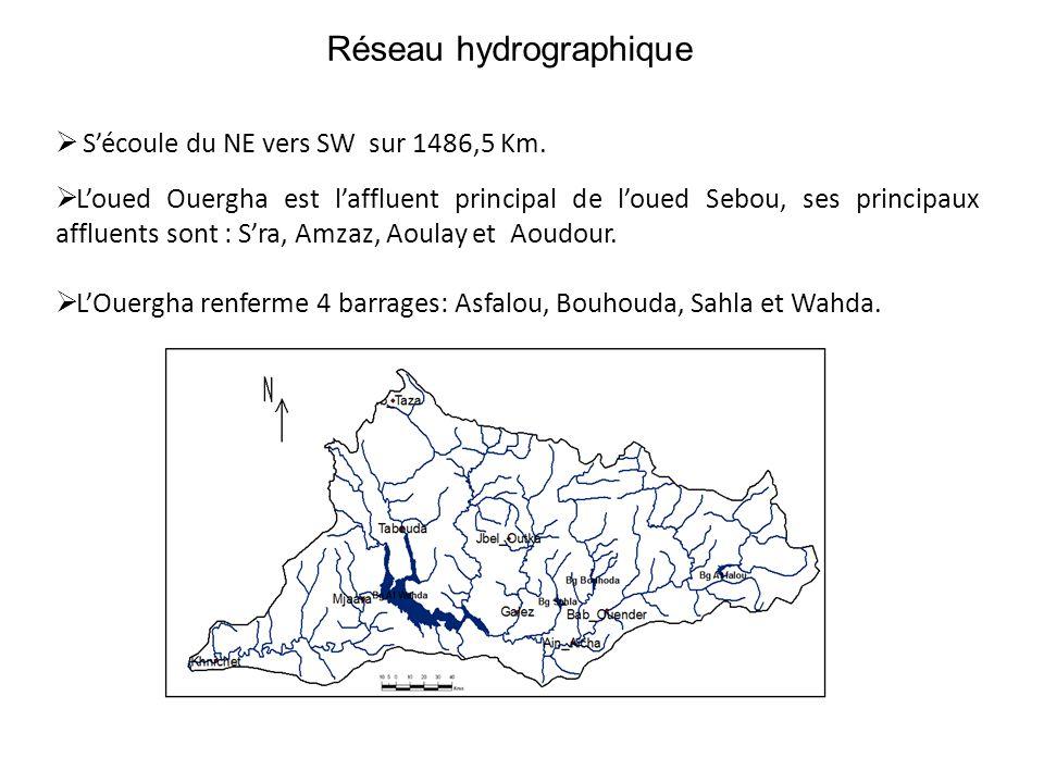 Réseau hydrographique  S'écoule du NE vers SW sur 1486,5 Km.