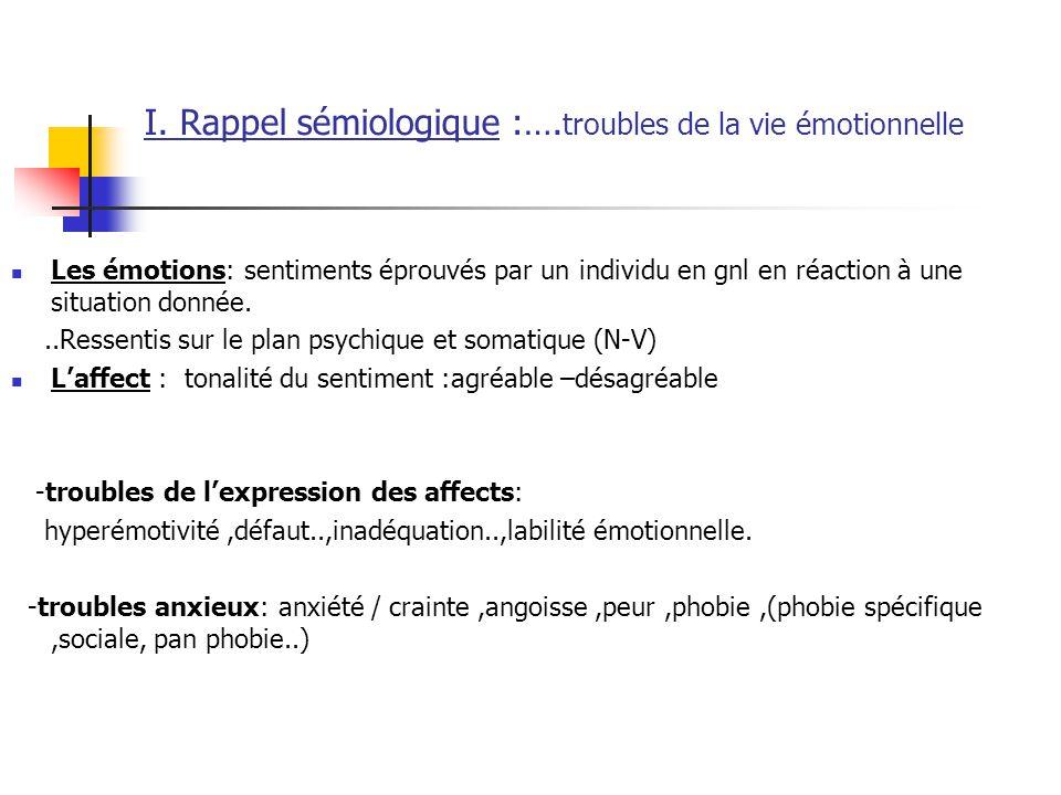 I. Rappel sémiologique :…. troubles de la vie émotionnelle  Les émotions: sentiments éprouvés par un individu en gnl en réaction à une situation donn