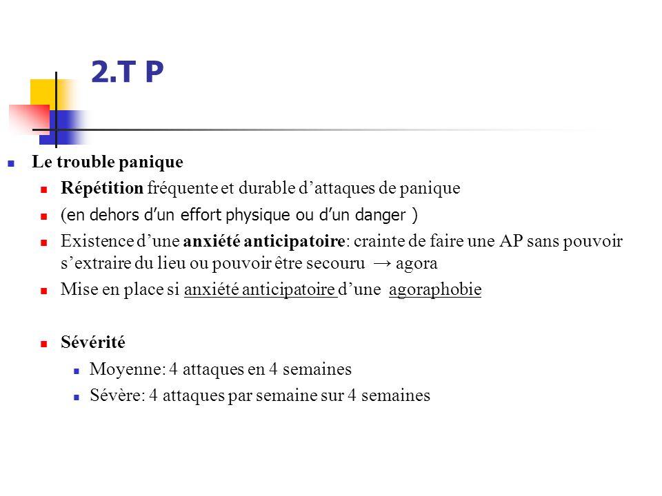 2.T P  Le trouble panique  Répétition fréquente et durable d'attaques de panique  ( en dehors d'un effort physique ou d'un danger )  Existence d'u