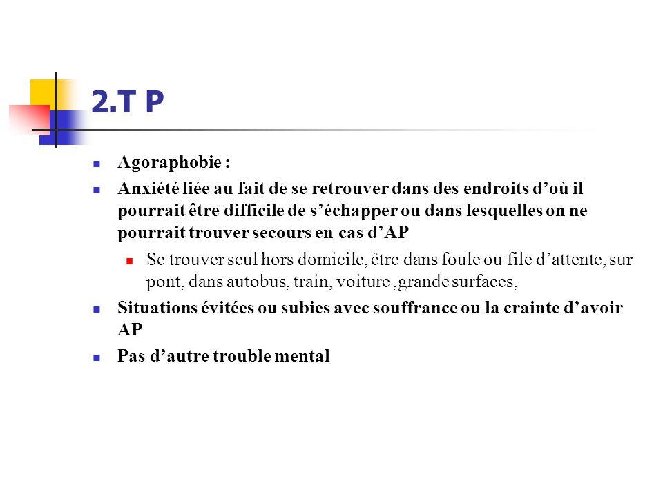 2.T P  Agoraphobie :  Anxiété liée au fait de se retrouver dans des endroits d'où il pourrait être difficile de s'échapper ou dans lesquelles on ne