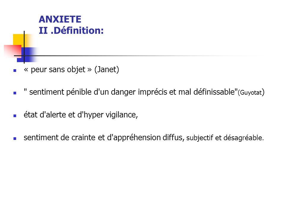 ANXIETE II.Définition:  « peur sans objet » (Janet) 
