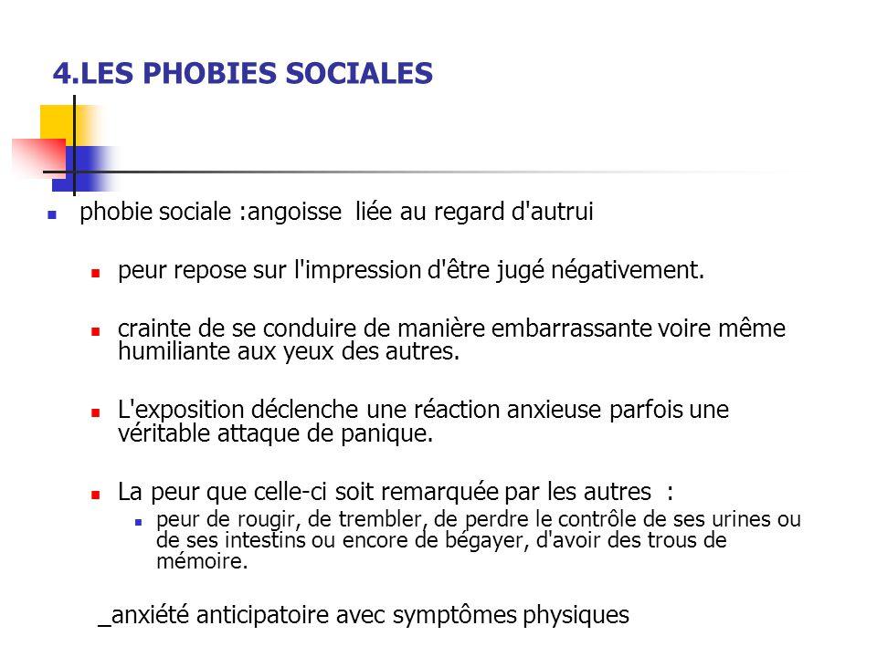4.LES PHOBIES SOCIALES  phobie sociale :angoisse liée au regard d'autrui  peur repose sur l'impression d'être jugé négativement.  crainte de se con
