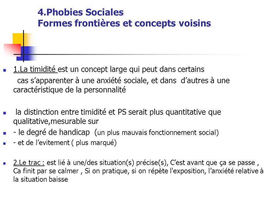 4.Phobies Sociales Formes frontières et concepts voisins  1.La timidité est un concept large qui peut dans certains cas s'apparenter à une anxiété so