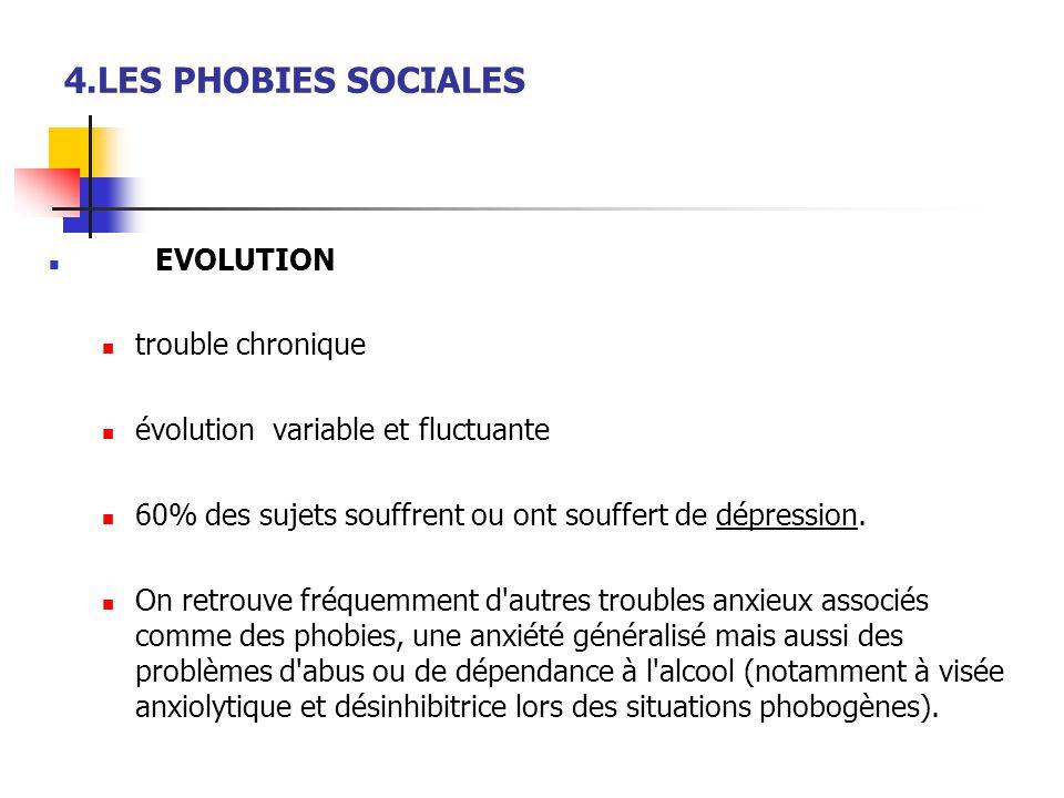 4.LES PHOBIES SOCIALES  EVOLUTION  trouble chronique  évolution variable et fluctuante  60% des sujets souffrent ou ont souffert de dépression. 