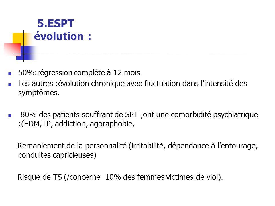 5.ESPT évolution :  50%:régression complète à 12 mois  Les autres :évolution chronique avec fluctuation dans l'intensité des symptômes.  80% des pa