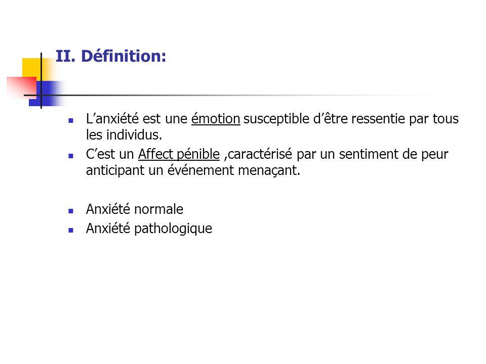 Séparation de trois pathologies anxieuses (névroses d'angoisse)  Crise d'angoisse ou attaque de panique ( AP )  Trouble panique (TP): répétition AP  Anxiété généralisée (TAG ): anxiété chronique