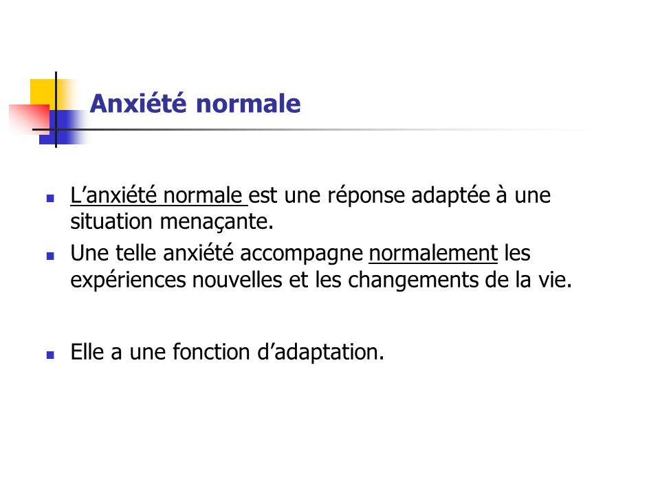 Anxiété normale  L'anxiété normale est une réponse adaptée à une situation menaçante.  Une telle anxiété accompagne normalement les expériences nouv