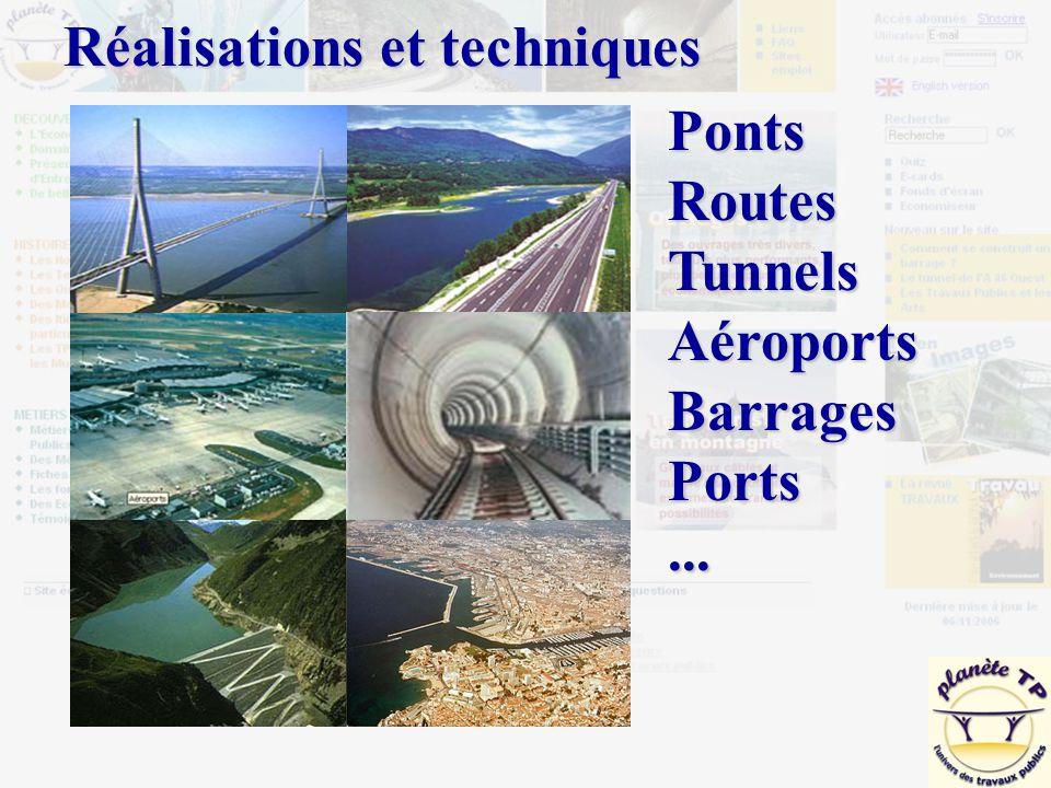 PontsRoutesTunnelsAéroportsBarragesPorts... Réalisations et techniques