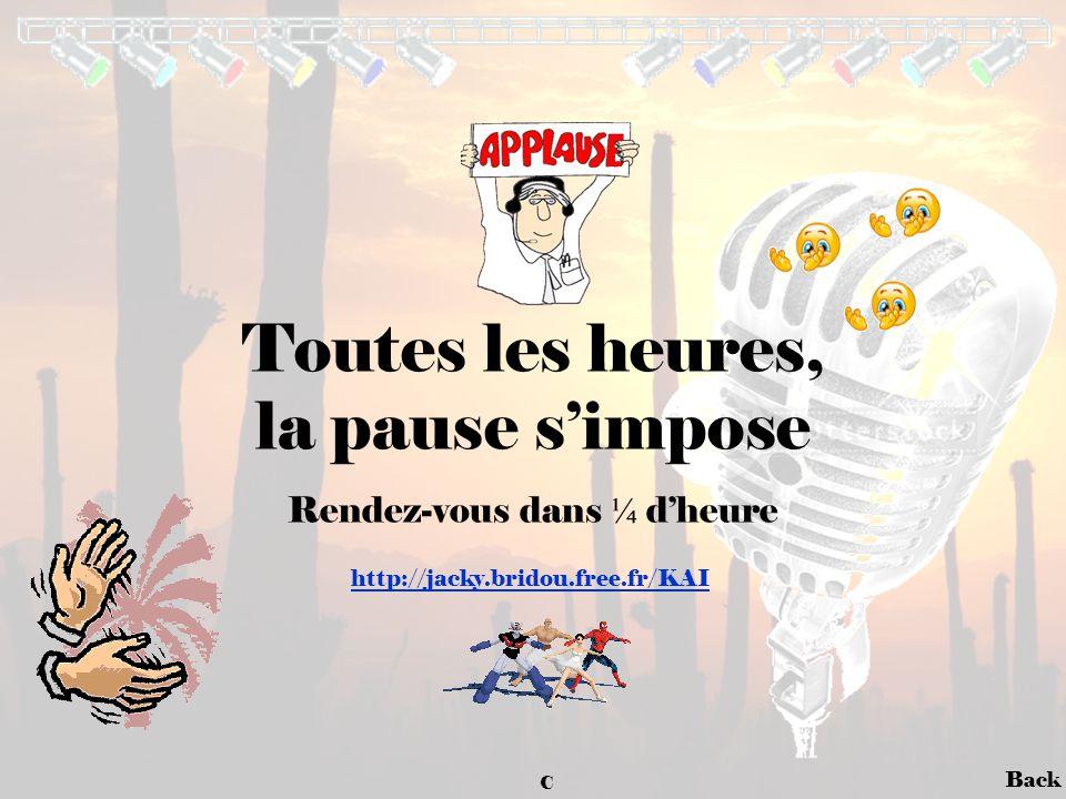 Back Toutes les heures, la pause s'impose Rendez-vous dans ¼ d'heure http://jacky.bridou.free.fr/KAI C