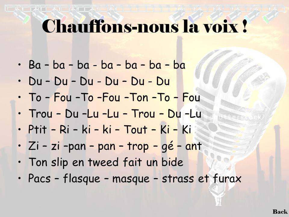 Back Chauffons-nous la voix ! •Ba – ba – ba - ba – ba – ba – ba •Du – Du – Du - Du – Du - Du •To – Fou –To –Fou –Ton –To – Fou •Trou – Du –Lu –Lu – Tr