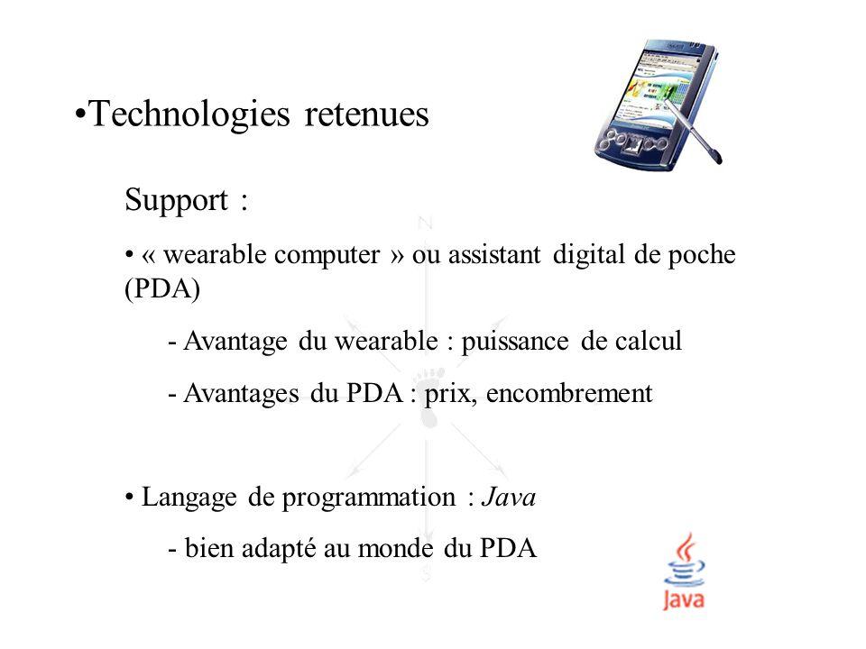 Support : • « wearable computer » ou assistant digital de poche (PDA) - Avantage du wearable : puissance de calcul - Avantages du PDA : prix, encombre