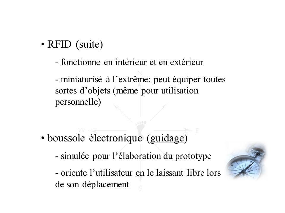 • RFID (suite) - fonctionne en intérieur et en extérieur - miniaturisé à l'extrême: peut équiper toutes sortes d'objets (même pour utilisation personn
