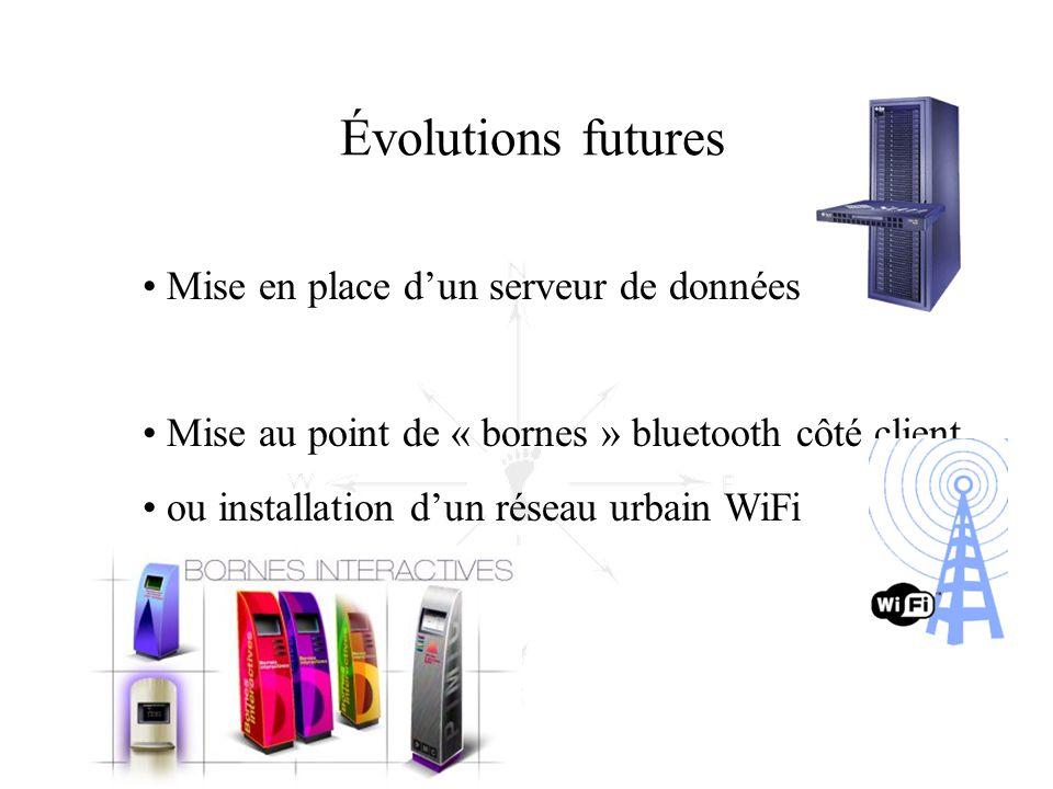 • Mise en place d'un serveur de données • Mise au point de « bornes » bluetooth côté client • ou installation d'un réseau urbain WiFi Évolutions futur