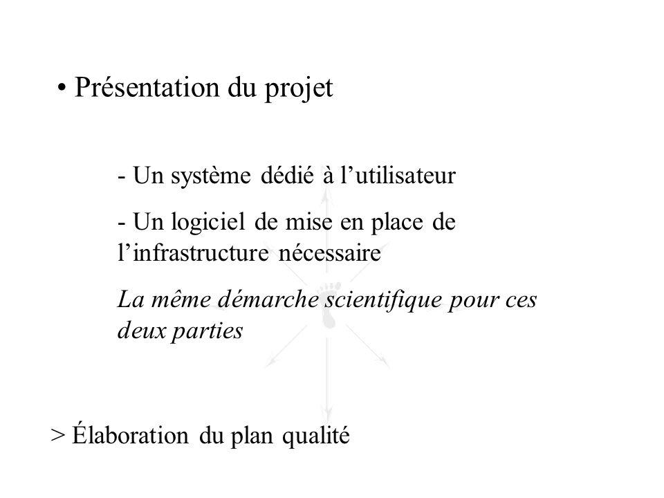 > Élaboration du plan qualité • Présentation du projet - Un système dédié à l'utilisateur - Un logiciel de mise en place de l'infrastructure nécessair