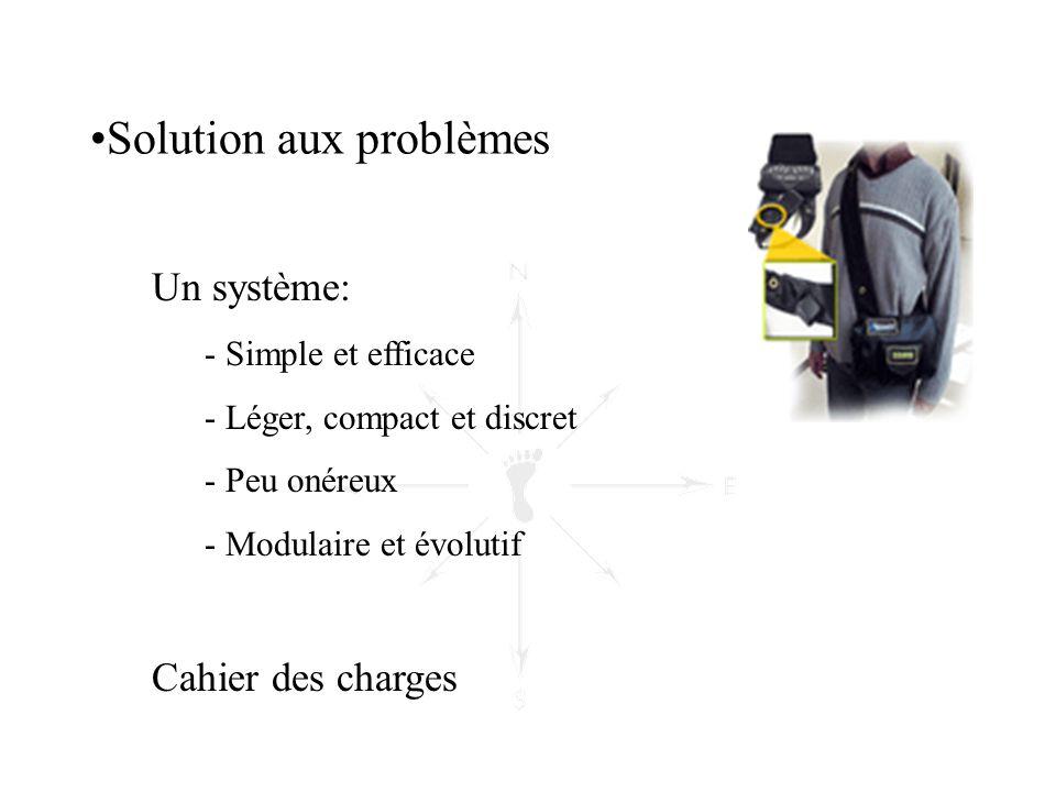 •Solution aux problèmes Un système: - Simple et efficace - Léger, compact et discret - Peu onéreux - Modulaire et évolutif Cahier des charges