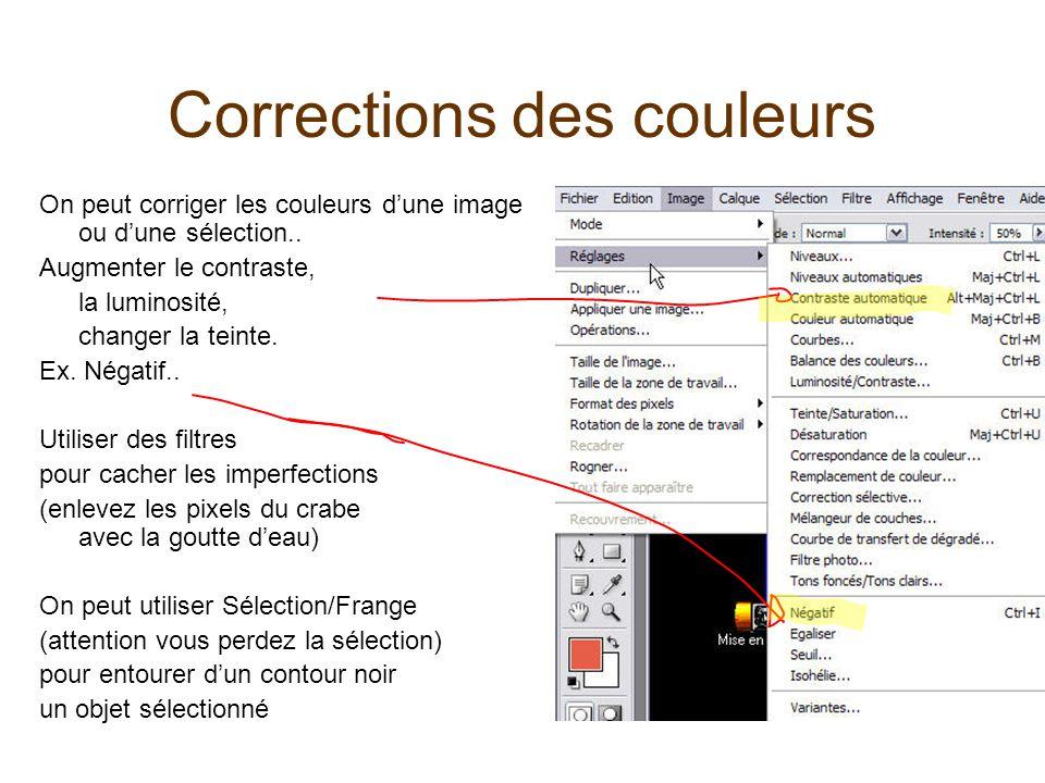 Corrections des couleurs On peut corriger les couleurs d'une image ou d'une sélection.. Augmenter le contraste, la luminosité, changer la teinte. Ex.