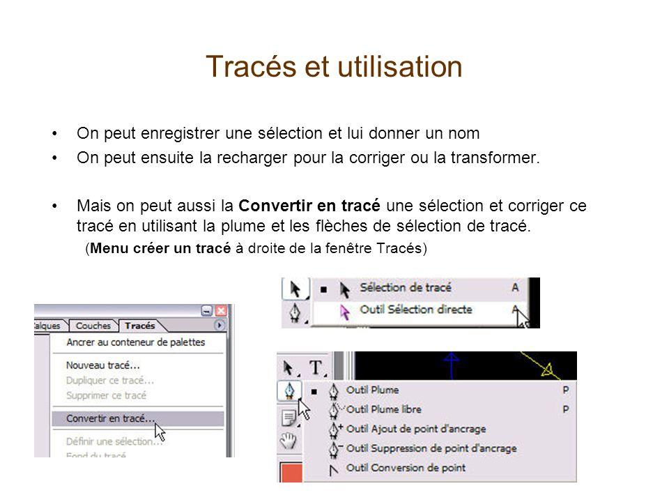 Tracés et utilisation •On peut enregistrer une sélection et lui donner un nom •On peut ensuite la recharger pour la corriger ou la transformer. •Mais