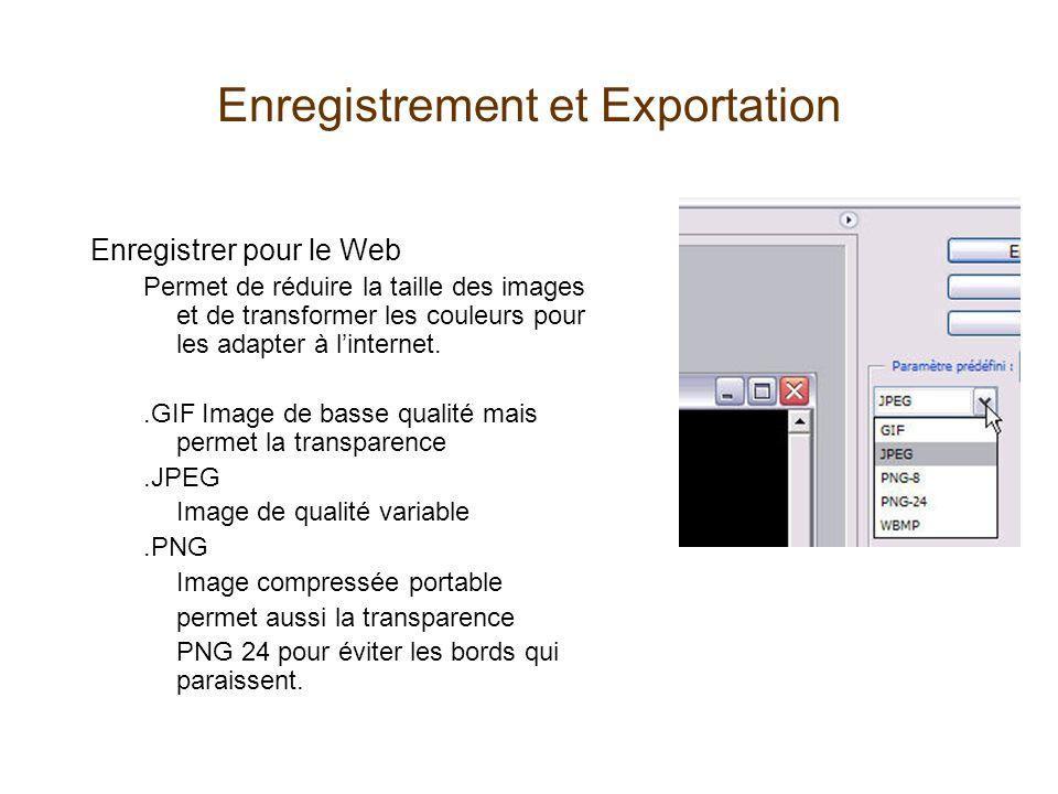 Enregistrement et Exportation Enregistrer pour le Web Permet de réduire la taille des images et de transformer les couleurs pour les adapter à l'inter