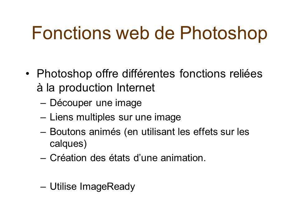 Fonctions web de Photoshop •Photoshop offre différentes fonctions reliées à la production Internet –Découper une image –Liens multiples sur une image
