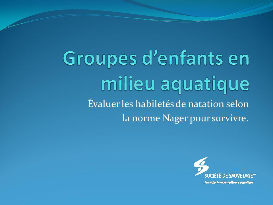 Évaluer les habiletés de natation selon la norme Nager pour survivre.