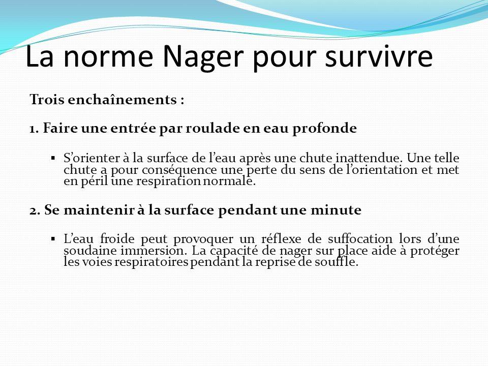 La norme Nager pour survivre Trois enchaînements : 1. Faire une entrée par roulade en eau profonde  S'orienter à la surface de l'eau après une chute