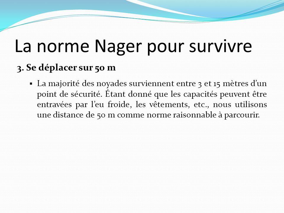 La norme Nager pour survivre 3. Se déplacer sur 50 m  La majorité des noyades surviennent entre 3 et 15 mètres d'un point de sécurité. Étant donné qu